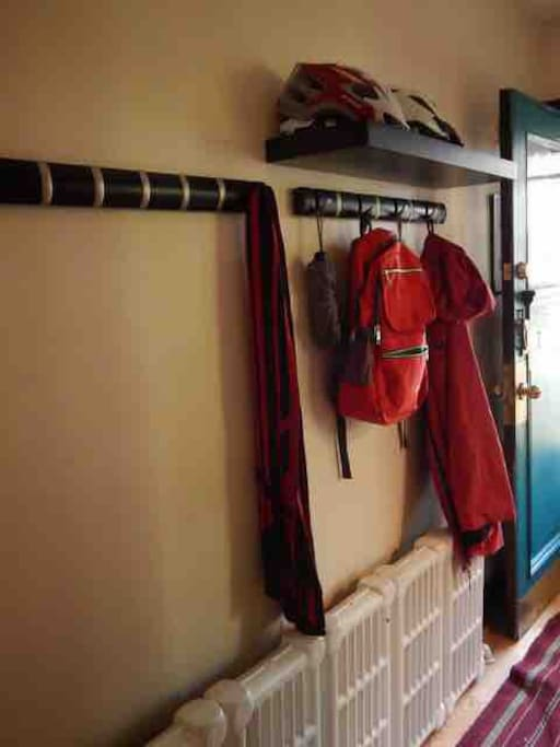 Welcome! Our front hallway has coat hooks, umbrellas, and bike helmets for your use.