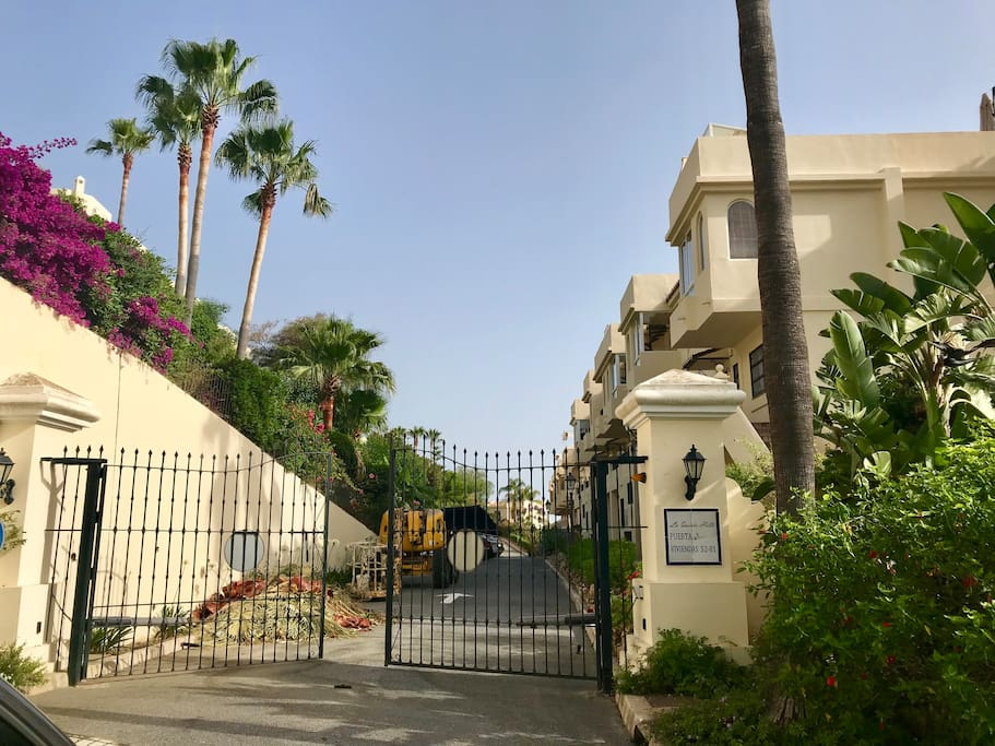 Entrance of the private gated community.