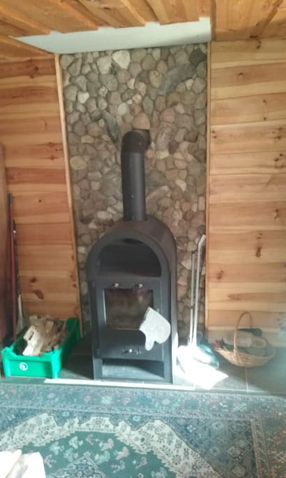 Heating comes from the fireplace. We provide wood.