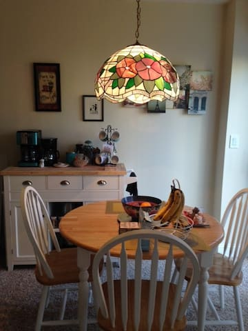 Kitchen table and coffee bar