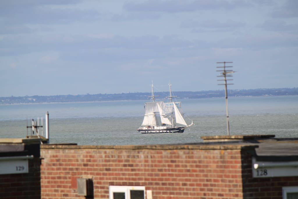 View from the kitchen table, sail boat may have moved on.