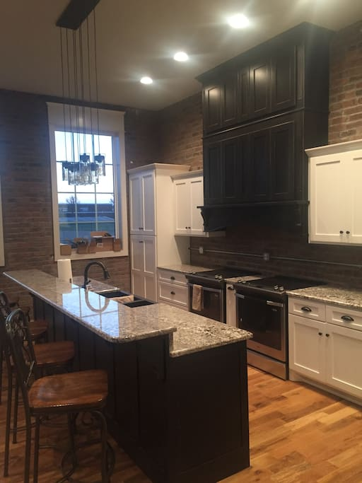Custom kitchen with seating for 18