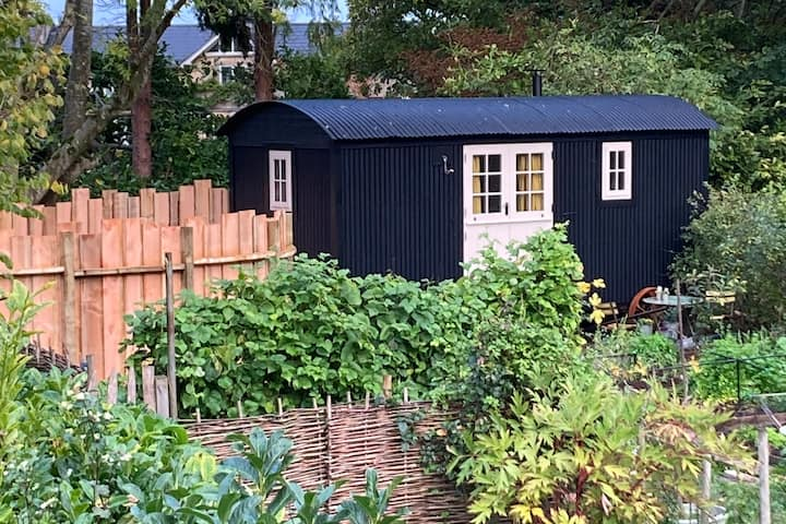 SHEPHERD'S HUT WITH WOOD BURNING HOT TUB NEAR BATH
