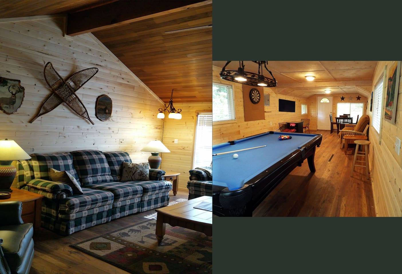 Pic on the left shows part of living room.  To the right is private game house.