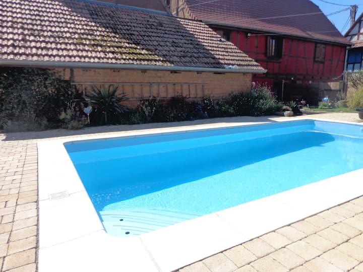 La cour pavée, Strasbourg, Obernai, piscine privée