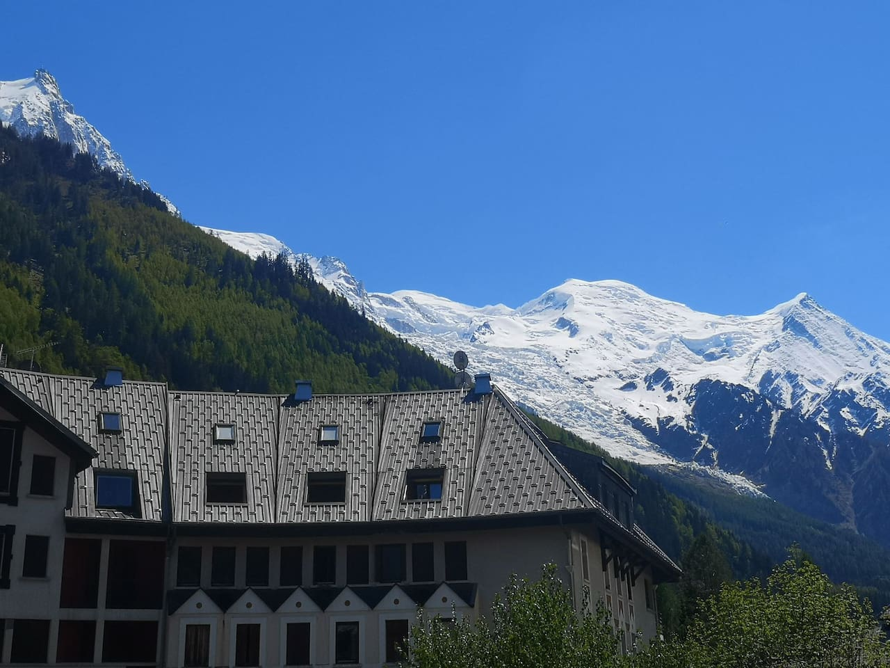Amazing Aiguille du Midi and Mont Blanc view from the balcony