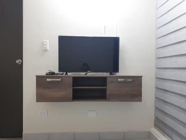 Mueble con TV Smart con acceso a Internet.