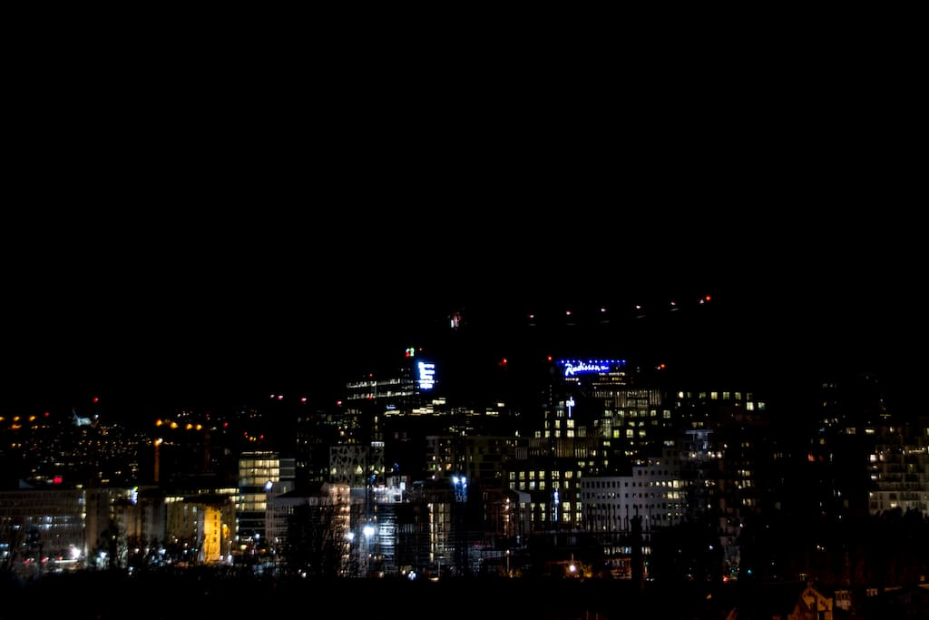 View of iconic Barcode buildings by night