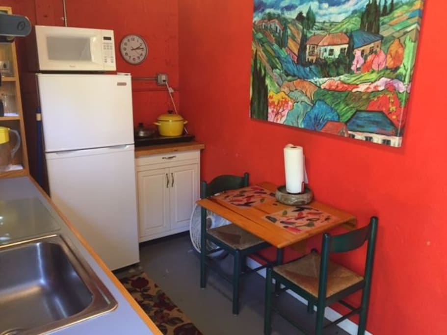 Kitchen space w/fridge, microwave and toaster oven