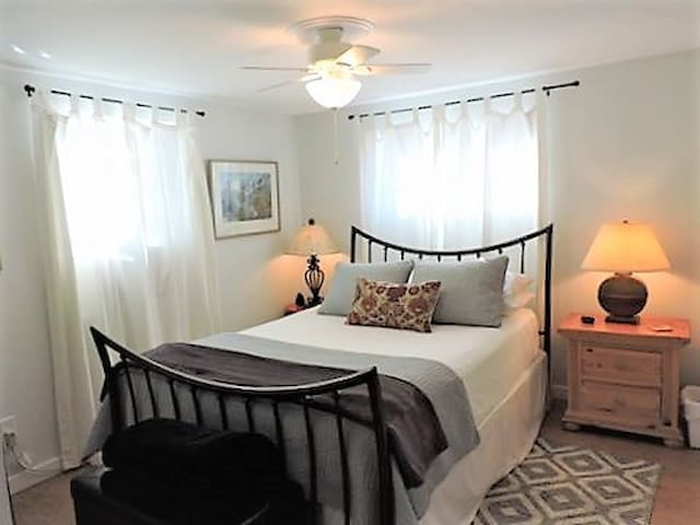 """Master Bedroom has a comfy Queen-size Beauty Rest """"Recharge"""" Luxury Firm mattress with foam topper. 3 Pillow Choices including cervical support (my fave) and bamboo memory foam are offered. All are encased in allergen-free protectors. Plus High thread count sheets, cotton blankets and comforter and an extra throw."""
