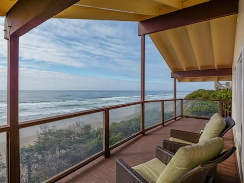Oceanfront views from the covered patio!