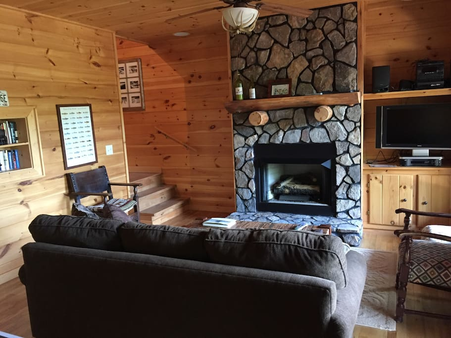 Lower level with gas log fireplace, sofa bed