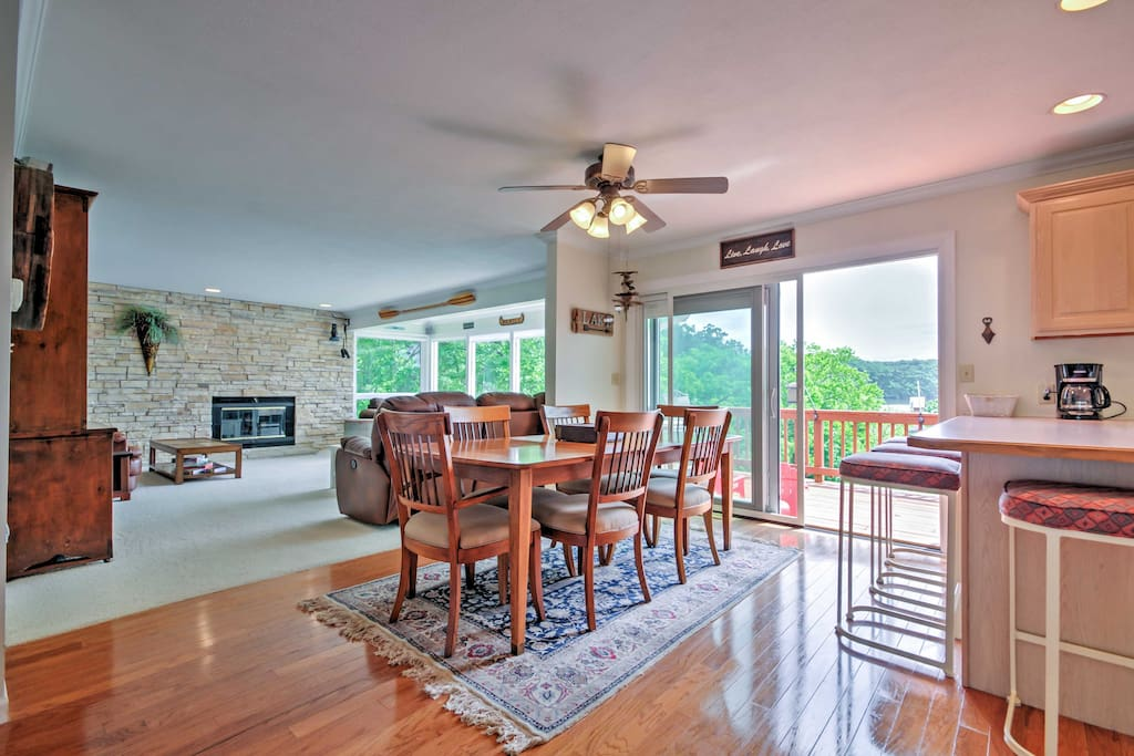 The spacious interior of the home offers unrivaled views of the Lake of the Ozarks.
