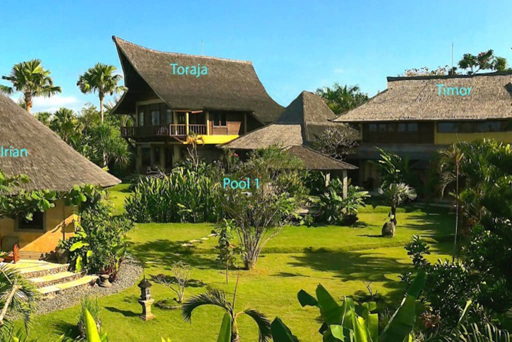 """Villa Bungadesa ( 7 bedrooms) consisting of  Pavilion Toraja (2br), Pavilion Irian (1 br) and Pavilion Timor (4br). Need more space? 4 more bedrooms and another pool are awaiting you by  simply opening a gate to """"little bungadesa""""."""
