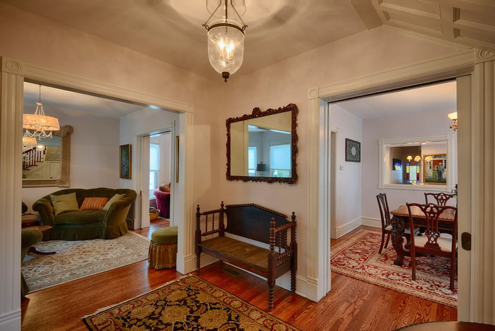 Entry Foyer with View of Living room, Parlor and Dining room