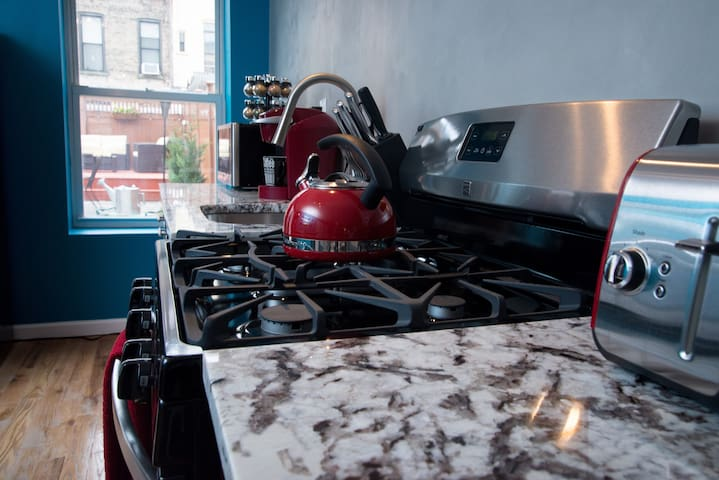 Top of the line finishes, including stainless steel appliances and granite countertops