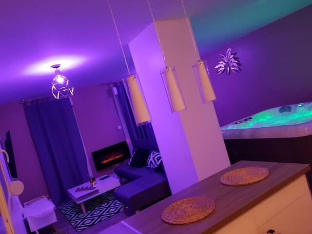 Somptueuse suite 100m2 spa privatif sauna privatif