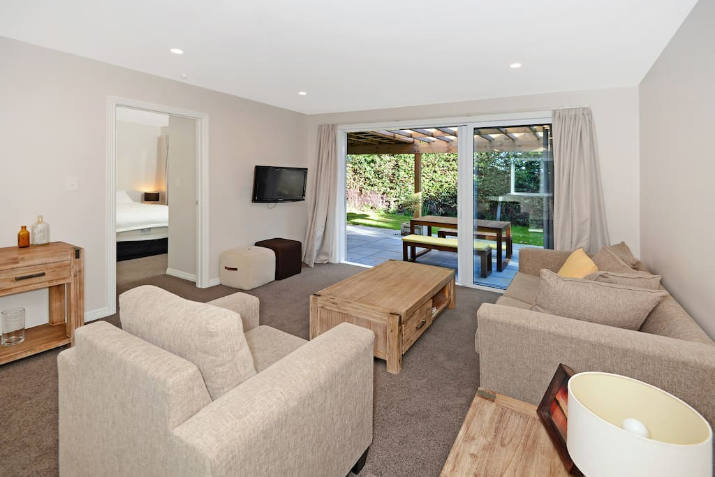 Comfortable living room with pull out sofa bed if needed