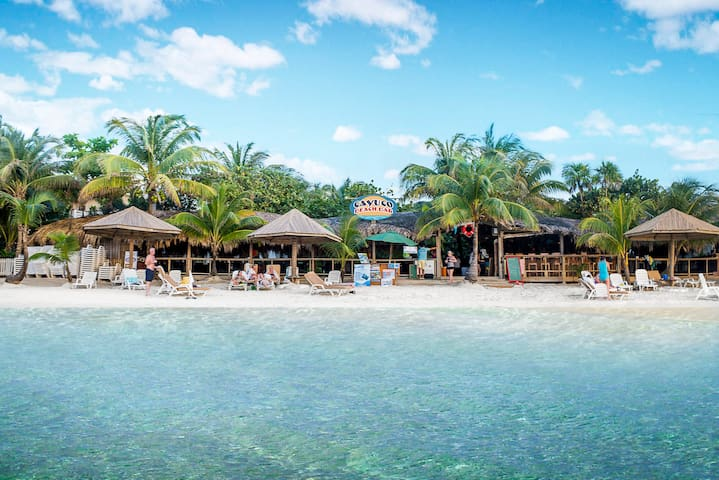West Bay Beach, clear turquoise waters and Restaurant