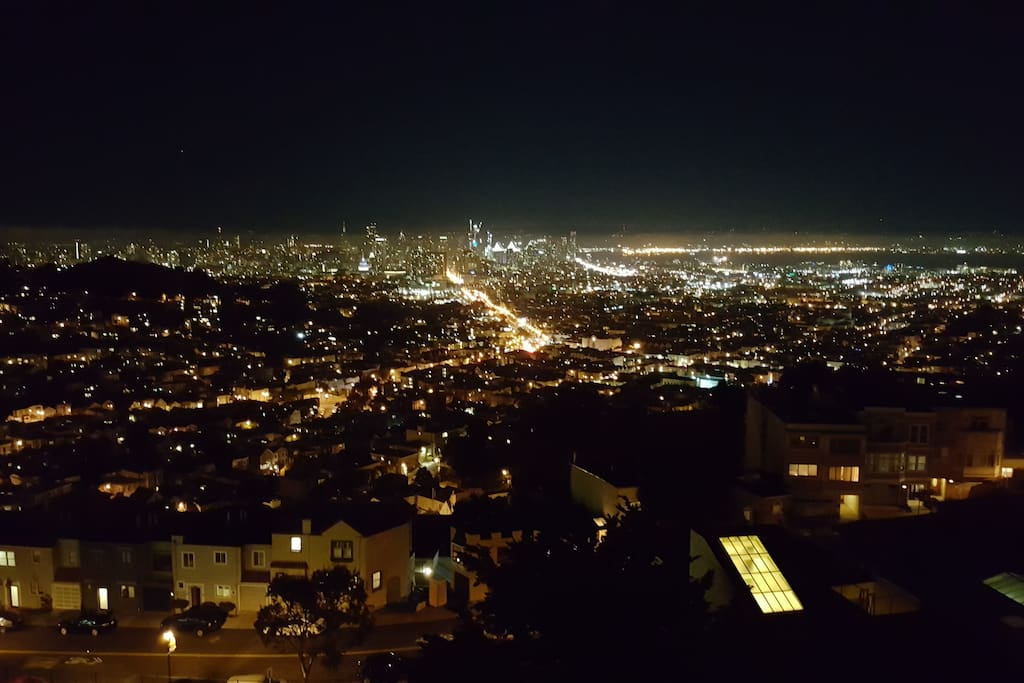 View from your two balconies at night!