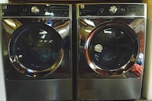 State of the art washer and dryer for your use.