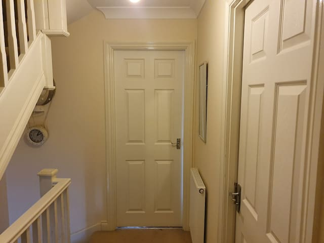 The bathroom and bedroom are next door on second floor. Bathroom is shared only with one person