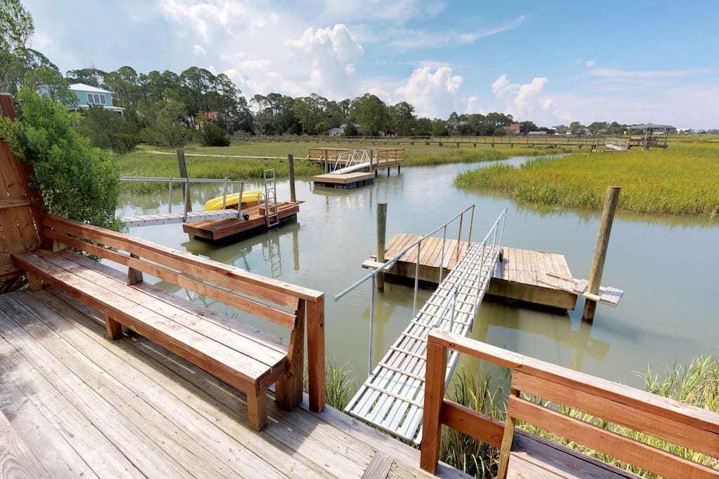 Panoramic marsh views and floating dock - 1st Level
