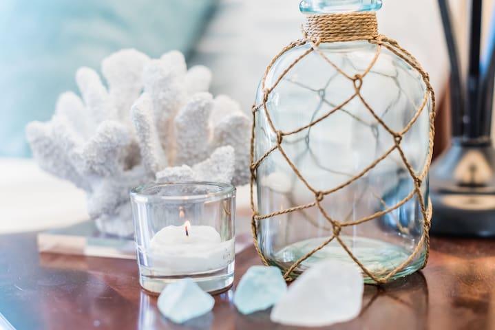 Soft Aqua Beach decor with Attached shared bath