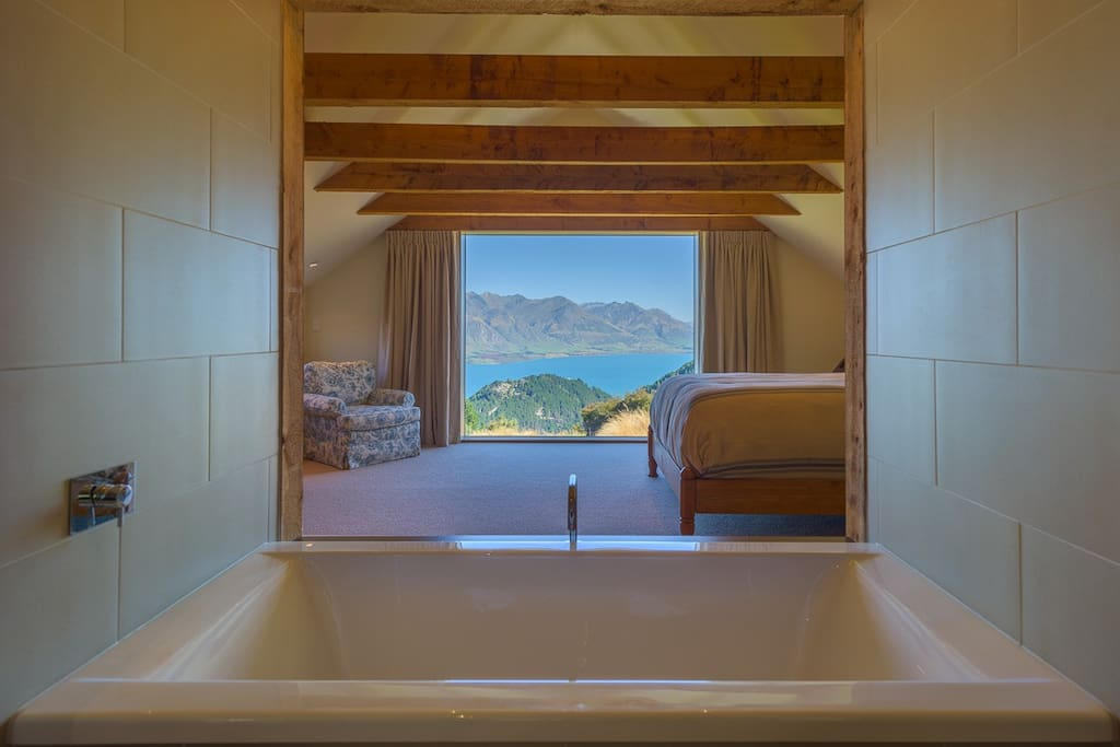 Lakeview Suite.  Soak in the views...or in the tub.  Private ensuite bathroom also has separate shower
