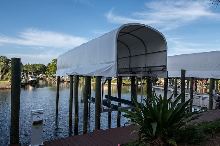 Launch a boat in your own backyard from a private boat slip that's included with your reservation.