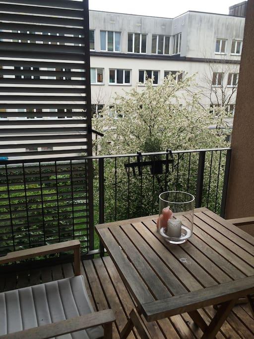 Enjoy a glass of wine or a nice breakfast on my balcony