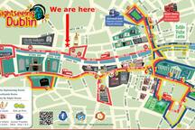 The main Dublin Sightseeing Bus map and our location on it