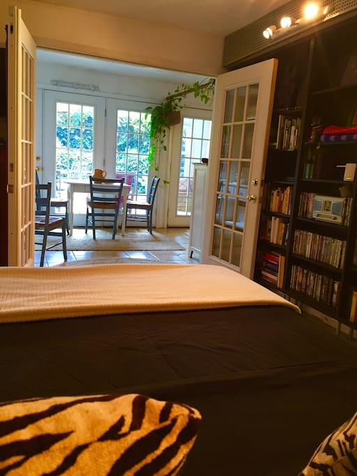 View from bed to courtyard. Plenty of books and movies to choose from.