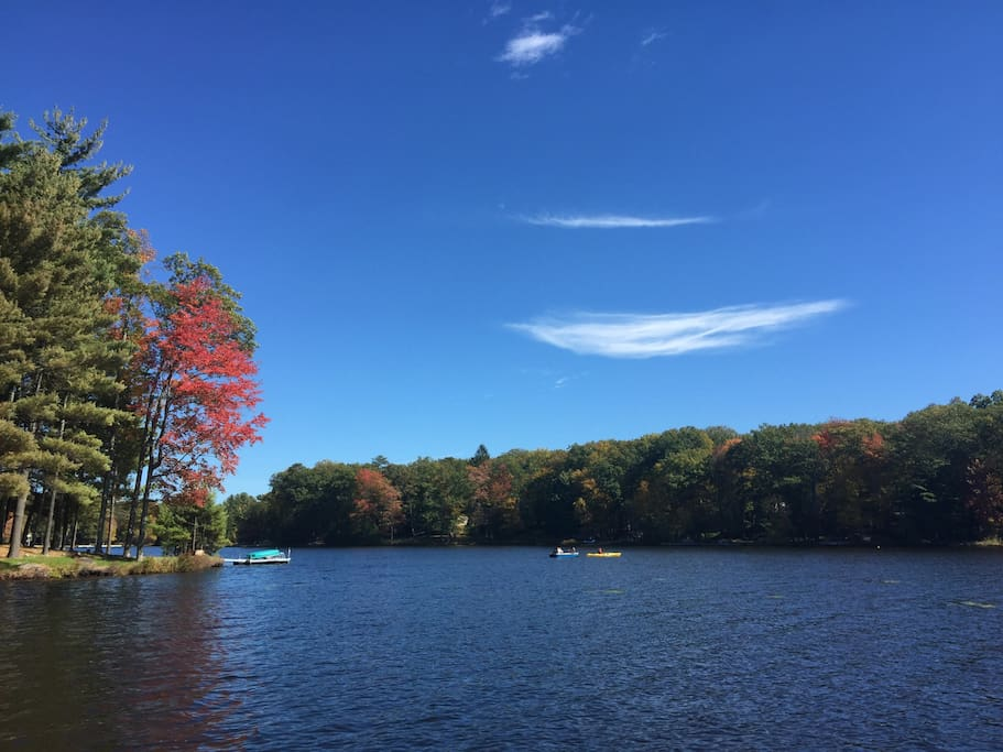 Early Autumn view from our lakefront dock