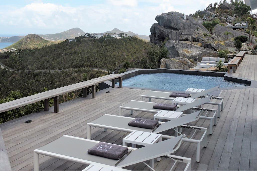 Pool deck.