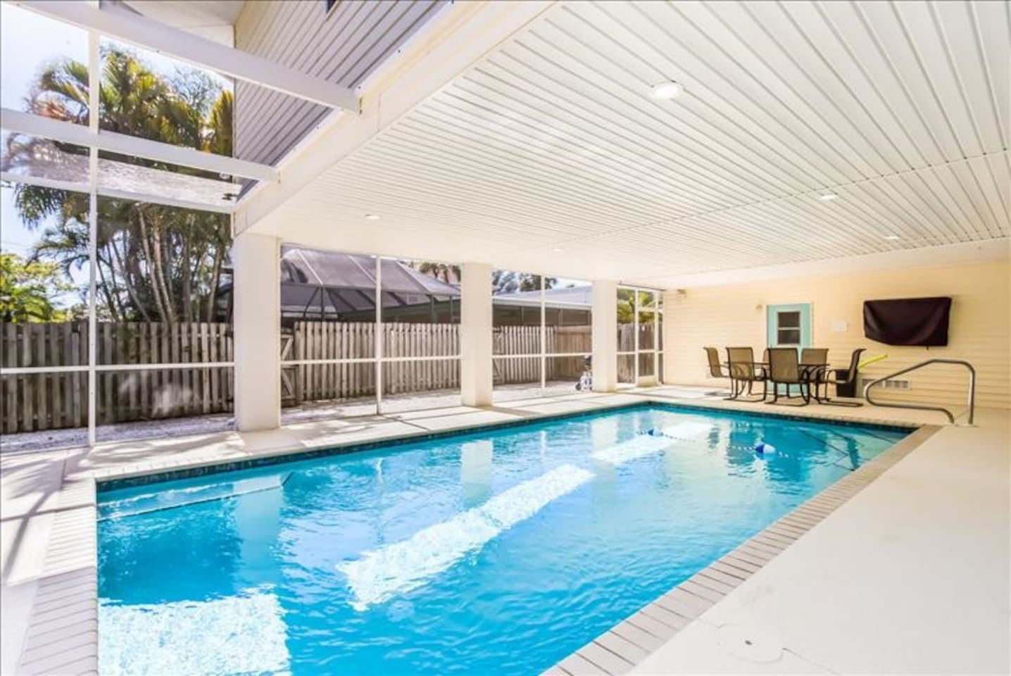 Large Pool with flat screen TV