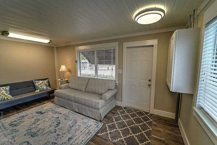 Sitting area with pull out bed and futon