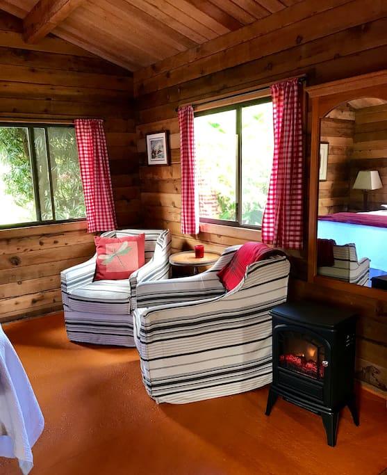 Sitting area with mini stove heater