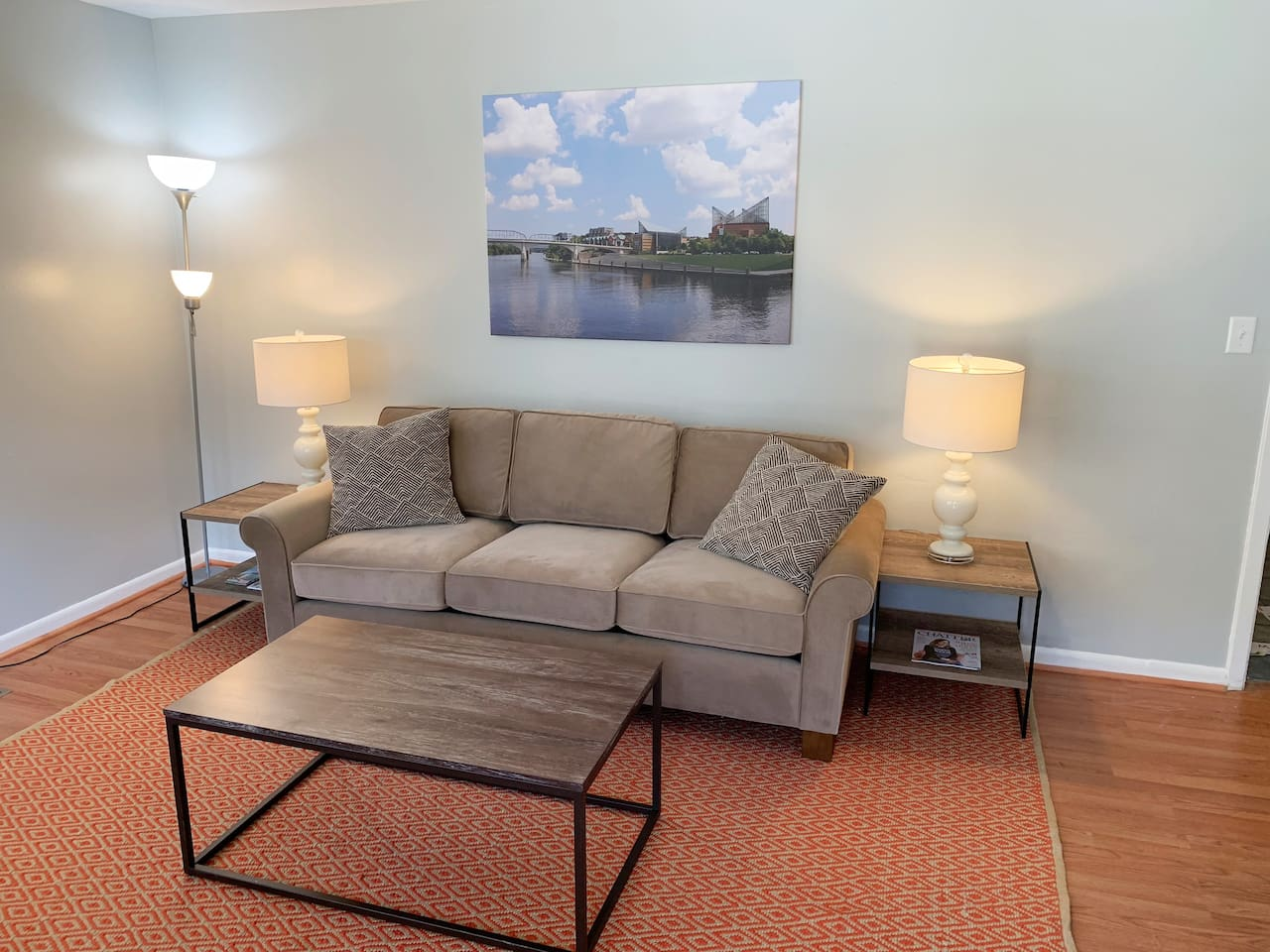 Rest and relax on our comfy living room couch.
