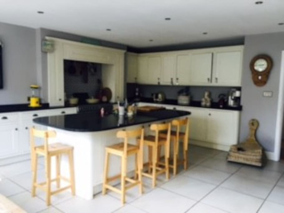 Large, bright kitchen with underfloor heating