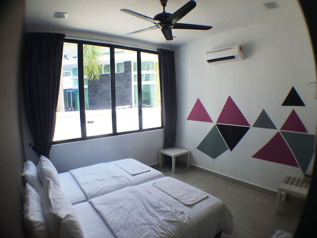 The 2  super single beds  bedroom ( ground floor , suitable for senior citizens )