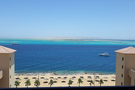 Chalet in The View compound looking at the Red Sea