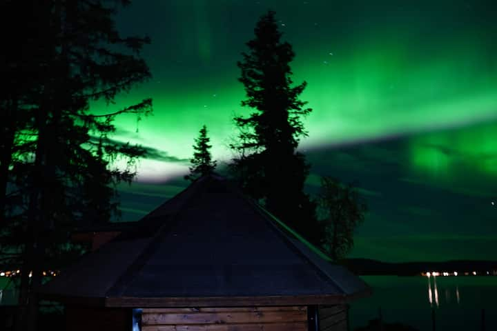 Northernlight cabin with reindeers