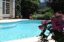 Vue d'un point d'accès du studio sur la piscine.
