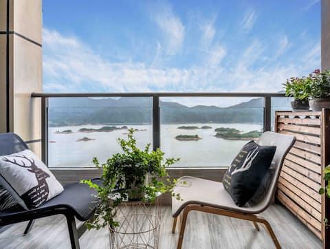 【有间雅阁】千岛湖珍珠半岛29层超大阳台全湖景公寓。闲来雅坐观山看水赏风景,枕水而居伴月而眠。