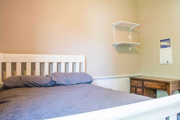 Your bedroom: full bed, bureau, small closet, desk