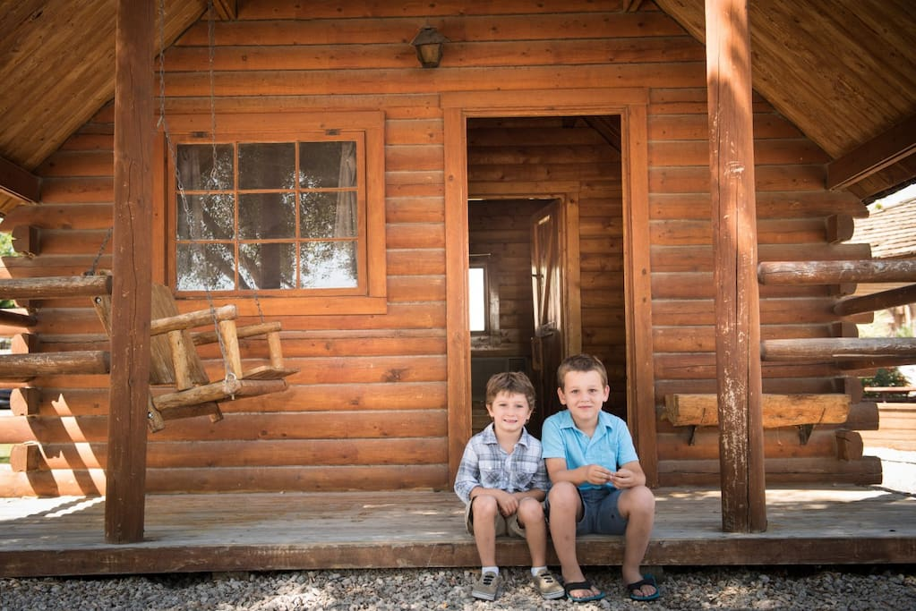 Kids on Cabin Porch