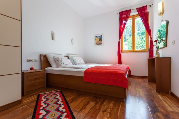 Along with the kitchen and the living room, the house comprises of two bedrooms with large double beds