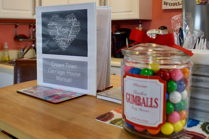 Be sure to review the house manual for helpful tips, menus, and maps. We also provide a detailed map of Center City. Oh, and gumballs--we can't forget the gumballs!