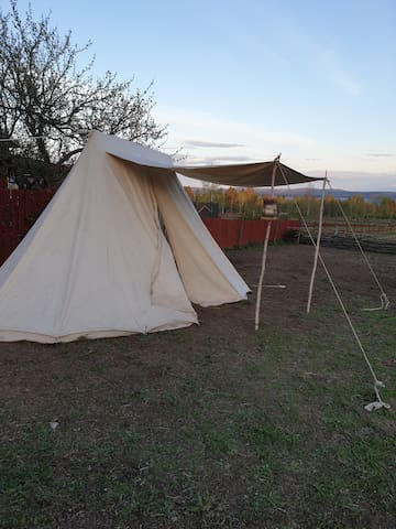 Sov i vårt Saxiska ryttartält.